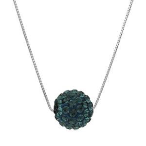 Image of Collier argent rhodié + grosse boule résine strass bleu nuit 38+5cm