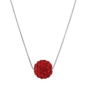 Image of Collier argent rhodié + grosse boule résine strass rouges 38+5cm