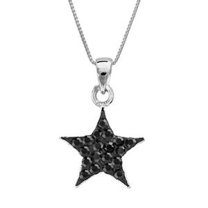 1001 Bijoux - Collier argent rhodié pendentif étoile résine strass noirs 42+3cm pas cher
