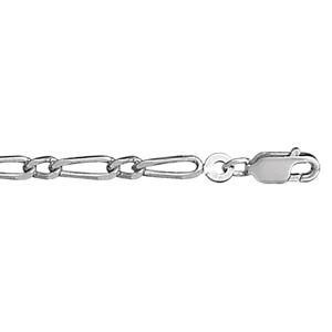 1001 Bijoux - Bracelet 1+1 3mm 18cm argent rhodié pas cher