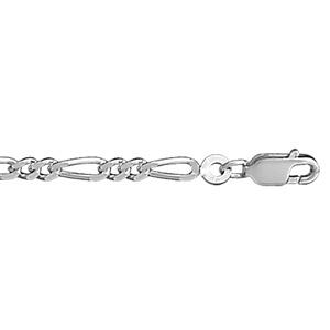 1001 Bijoux - Bracelet 1+2 3mm 18cm argent rhodié pas cher