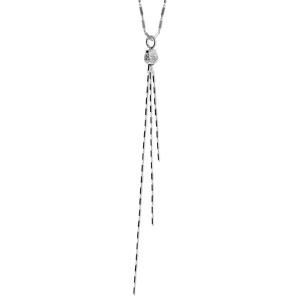 1001 Bijoux - Collier argent rhodié baguette forme Y boule triple chaîne 40+5cm pas cher