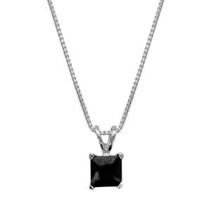Image of Collier argent rhodié pendentif carré pierre noire 42+3cm