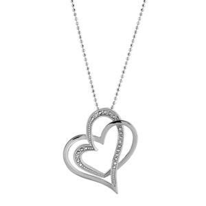 1001 Bijoux - Collier argent rhodié chaîne boule double coeurs entremelés petites pierres blanches synthétiques 43+3cm pas cher