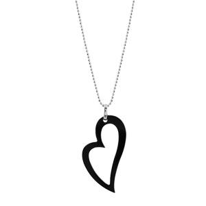 Image of Collier argent rhodié chainette boule coeur en biais évidé résine noire 42+3cm