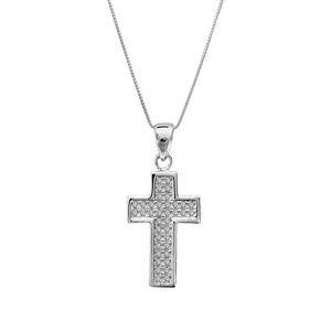Image of Collier argent rhodié croix pierres blanches 45cm