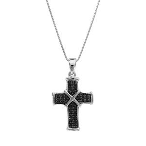 Image of Collier argent rhodié petite croix pierres noires 45cm