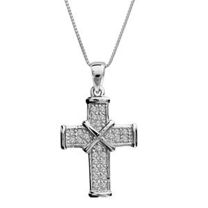 Image of Collier argent rhodié petite croix pierres blanches 45cm