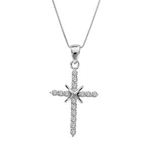Image of Collier argent rhodié croix fine pierres blanches 45cm