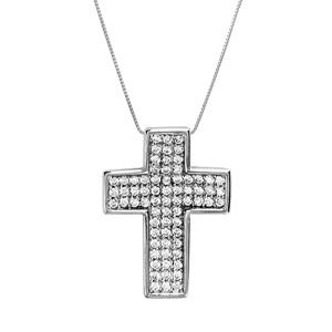 Image of Collier argent rhodié croix large pierres blanches 45cm