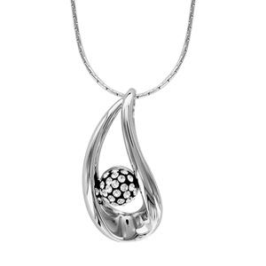 1001 Bijoux - Collier argent rhodié pendentif goutte boule résine noire et strass blancs 43+2,5cm pas cher