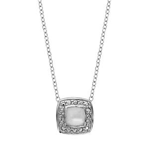 Image of Collier argent rhodié pendentif carré nacre blanche 43+2,5cm
