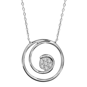 Image of Collier argent rhodié pendentif spirale pierres blanches 40+2+2cm