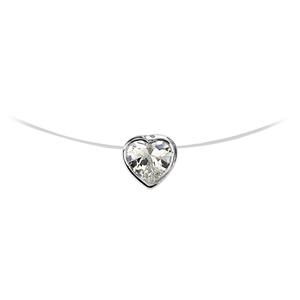 Image of Collier argent rhodié fil nylon pendentif coeur pierre blanche 41cm