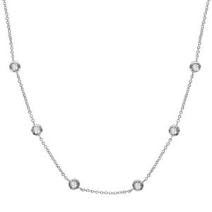 1001 Bijoux - Collier argent rhodié 6 pierres serties clos blanches pas cher