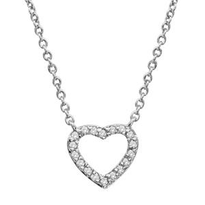 Image of Collier argent rhodié coeur ajouré pierres blanches 39,5+2cm