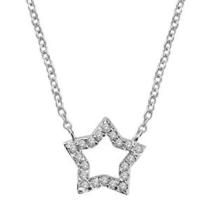 Image of Collier argent rhodié étoile ajourée contours pierres blanches 40+2cm