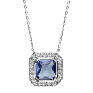 1001 Bijoux - Collier argent rhodié pierre forme carré bleue contours pierres blanches 39,5+2+2cm pas cher