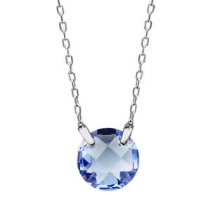 1001 Bijoux - Collier argent rhodié rond pierre bleue pas cher