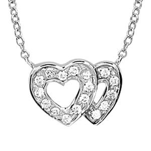 1001 Bijoux - Collier argent rhodié double coeur ajouré contour pierres blanches 40+2+2cm pas cher