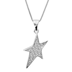 1001 Bijoux - Collier argent rhodié pendentif étoile petites pierres blanches 42+3cm pas cher