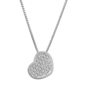 Image of Collier argent rhodié pendentif coeur oxydes micro-sertis 42+3cm