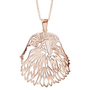 Image of Collier argent dorure rose gros pendentif tête d'aigle 40+10cm