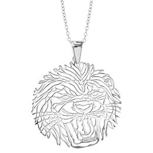 1001 Bijoux - Collier argent rhodié gros pendentif tête de lion 40+10cm pas cher