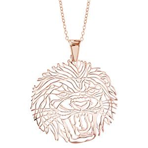 Image of Collier argent dorure rose gros pendentif tête de lion 40+10cm