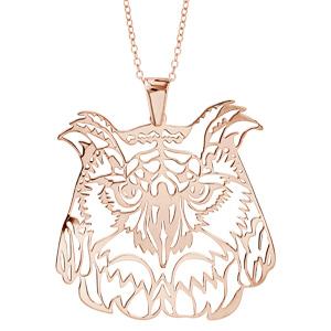 1001 Bijoux - Collier argent dorure rose gros pendentif chouette 40+10cm pas cher