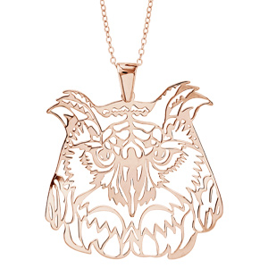 Image of Collier argent dorure rose gros pendentif chouette 40+10cm
