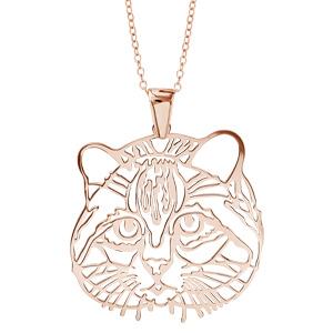 Image of Collier argent dorure rose gros pendentif tête de chat 40+10cm