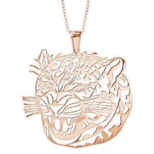 Image of Collier argent dorure rose gros pendentif tête jaguard 40+10cm