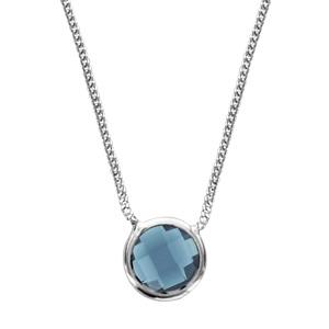 1001 Bijoux - Collier argent rhodié 1 pierre facette bleu clair 40+10cm pas cher