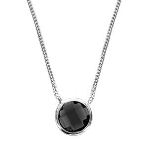 Image of Collier argent rhodié 1 pierre facette noire 40+10cm