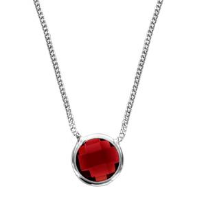 Image of Collier argent rhodié 1 pierre facette rouge 40+10cm