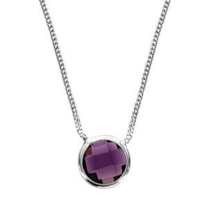 Image of Collier argent rhodié 1 pierre facette violette 40+10cm