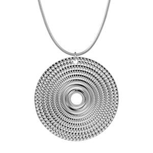 1001 Bijoux - Collier argent rhodié pendentif disque diamanté 40cm pas cher