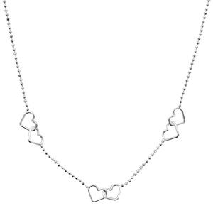 Image of Collier argent 3 double coeurs chaîne boules 43+5cm