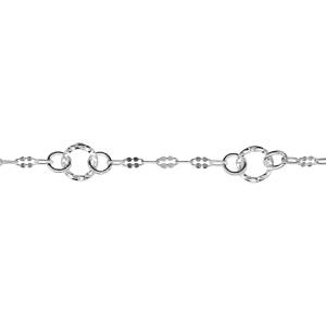 Image of Collier argent 5 anneaux diamantés 42cm