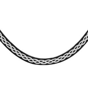 Image of Collier argent maille plate noir motif tresse blanche 42cm