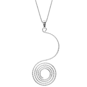 Image of Collier argent pendentif spirale diamantée 42cm