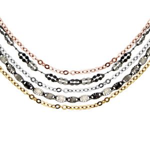 Image of Collier argent rhodié multi-chaînes 3 couleurs noire, grise et jaune 41+3cm