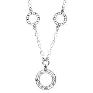 1001 Bijoux - Collier argent rhodié forme Y 3 cercles 42cm pas cher
