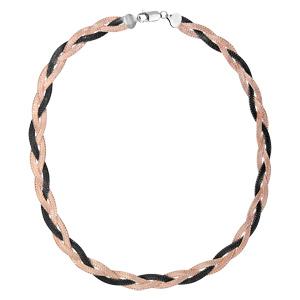 Image of Collier argent tressé 2 couleurs rose et noire 42cm
