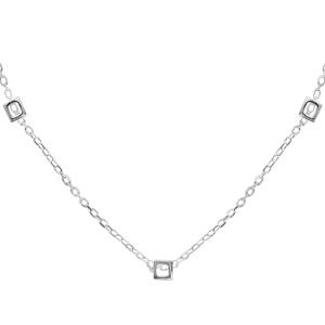 Image of Collier argent 5 motifs carrés 42cm