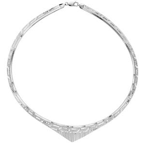 1001 Bijoux - Collier argent rhodié maille omega diamanté avec pointe 45cm pas cher