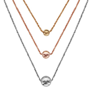 Image of Collier argent rhodié triple chaîne 3 couleurs rose, grise et jaune avec boules 45+3cm