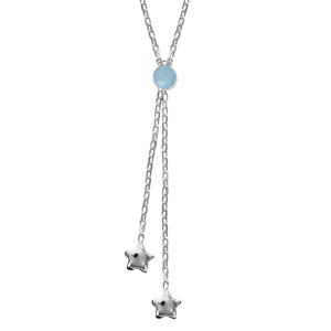 Image of Collier argent forme Y pierre bleue ciel 2 étoiles 42cm