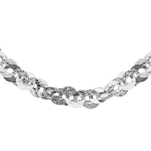 1001 Bijoux - Collier argent rhodié maillons ovales entremelés diamantés 42cm pas cher